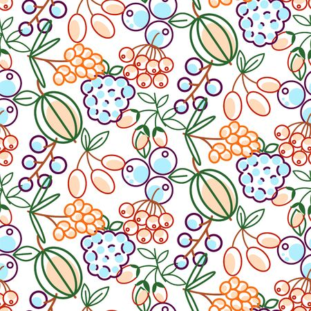Berries seamless vector pattern. Food outline berry icons repeat wrap bright red texture for kitchen textile print.. Ilustração