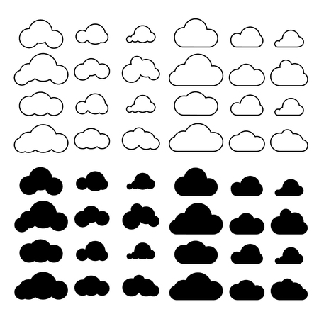 Clouds icons set vector. Outline cloud symbols with fill. Web and mobile app elements icons.