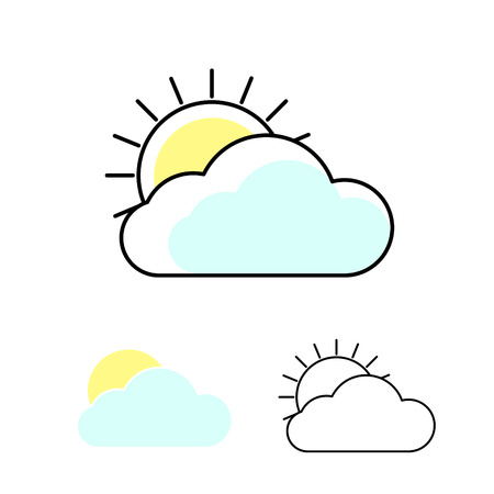 Sun and clouds weather vector icons. Outline cloud symbols with fill. Web and mobile app elements icons.