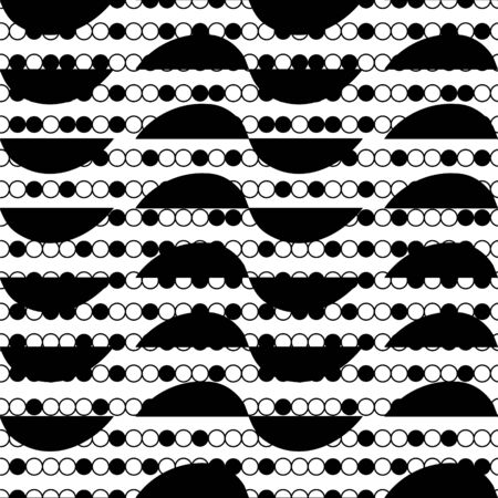 Seamless vector pattern with small black shapes. Simple geometric repeat background. Ilustração