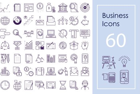 Business icon big set. Vector outline icons for website, apps and presentations. Financial and accounting icon pack.