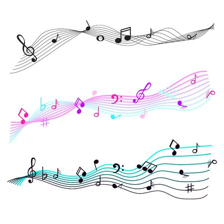 Music notes staff sign symbols. Melody icons wave vector set.