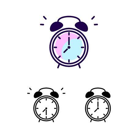 Alarm clock vector icon isolated on white background. Ringing clock vector symbols.