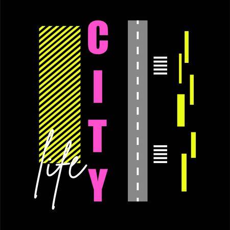 T shirt design city life typography vector illustration template. T-shirt print design on dark backdrop.