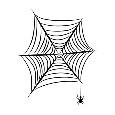 Spider net with spider insect on a white background vector object. Ilustração