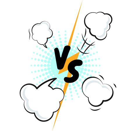 Versus letters comic manga style vector illustration. VS collision concept with rays and clap clouds.