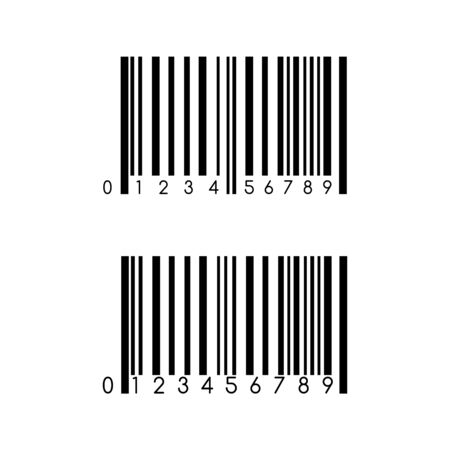 Barcode vector icon template. Item scan mark for products manufactory. Product info supply asset. Ilustração