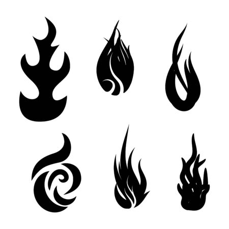 Fire flame icon set vector illustration design template. Black silhouette tongues of flame icon isolated on white background. Illusztráció