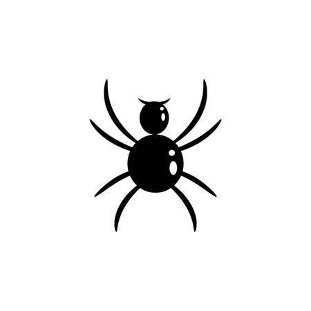 Spider vector silhouette cartoon icon. Bug insect black illustration.