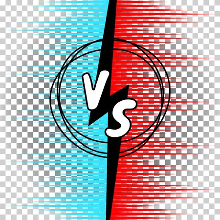 Versus letters comic manga style vector illustration. VS collision battle concept with burst rays.