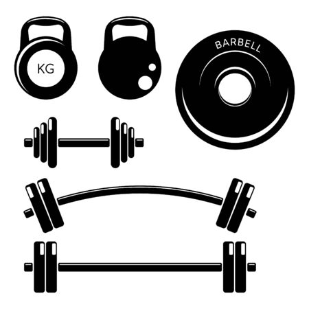 Set gym fitness weights elements. Silhouette icons style. Kettle bells, barbells and dumbbells.