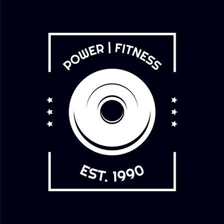 T shirt barbell weights design gym sport vector illustration template. T-shirt fitness print design on dark.