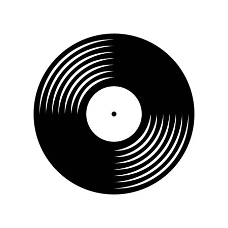 Vinyl plate disc isolated on white background. Music retro silhouette icon.