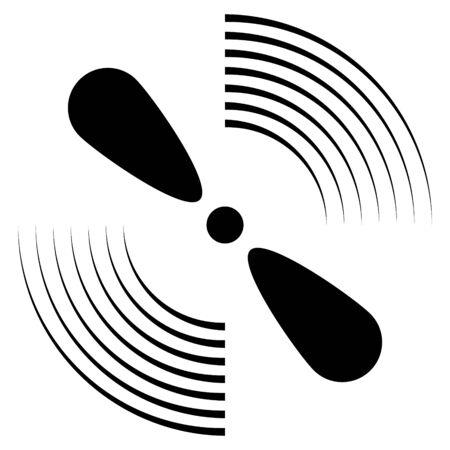 Exhaust fan icon ventilator symbol silhouette. Ventilation propeller rotation sign.