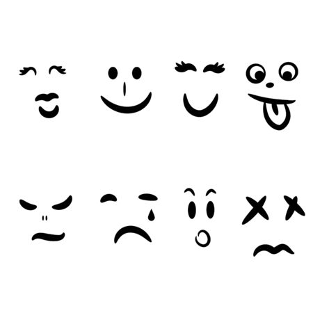Emoticon hand drawn face emotions expression. Silhouette facial abstract emoticons icon set vector.