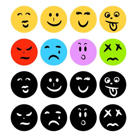Emoticon icons flat circle shape with hand drawn face emotions. Silhouette emoticons icon set vector.