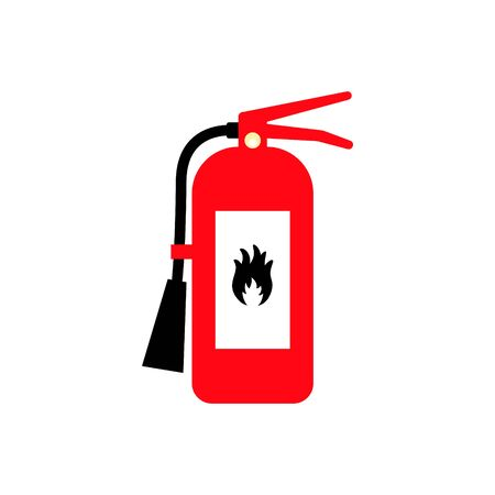 Fire extinguisher cartoon flat colored icon with fire sign. Safety gear symbol.