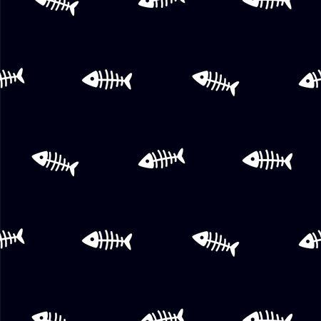 Fish skeleton black and white seamless vector pattern. Fishbones repeat textile simple marine texture print.