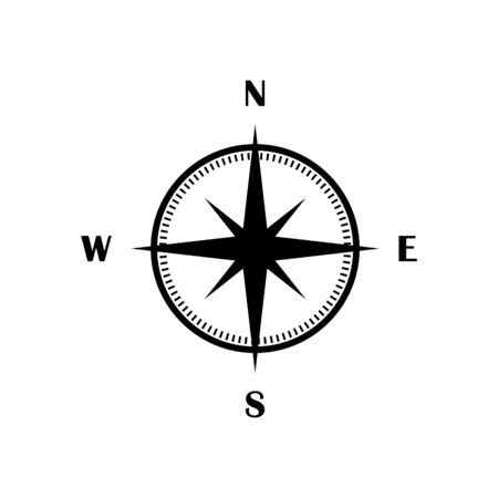 Vector compass icon black isolated flat symbol. Wind rose graphic UI element sign.