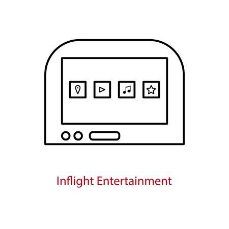 Icône d'écran de divertissement en vol sur un dossier de siège d'avion. Tablette multimédia embarquée pour les passagers. Vecteurs
