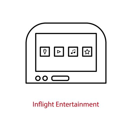 Inflight entertainment screen icon on an airplane seatback. On-board multimedia tablet for passengers. 矢量图像