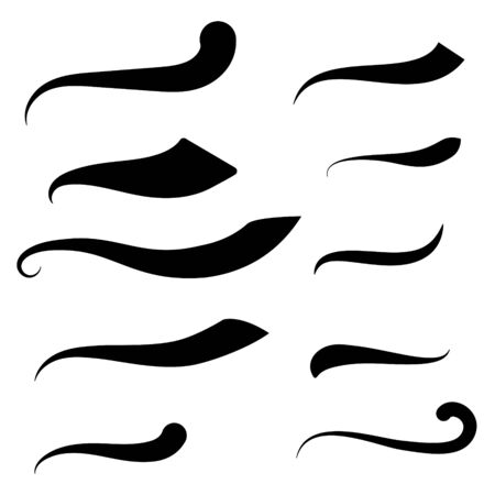 Swoosh and swash text tails vector set. Font tail swirls typography elements for badges decoration.