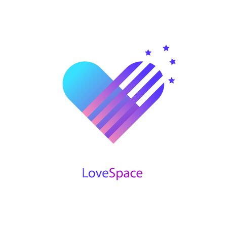 Heart vector symbol. Love space icon . Abstract gradient blue purple template with shooting stars.
