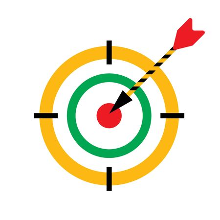 Bullseye darts vector icon with arrow in the center point. Hit the target symbol.
