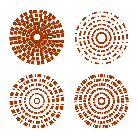 Abstract circle shapes with dashed lines vector set. Circular element.