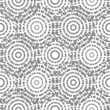 Dashed circles gray abstract background seamless pattern. Round shapes vector texture.