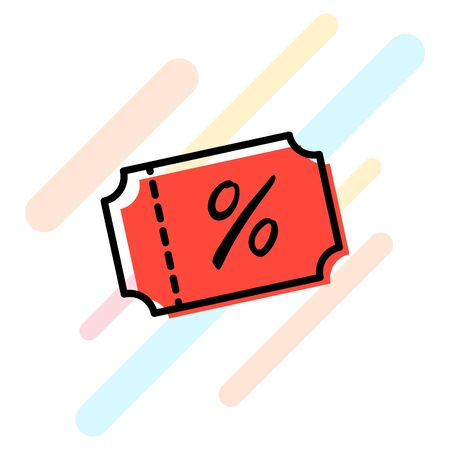 Discount coupon icon vector. Sale ticket red label sign. Percent tag.