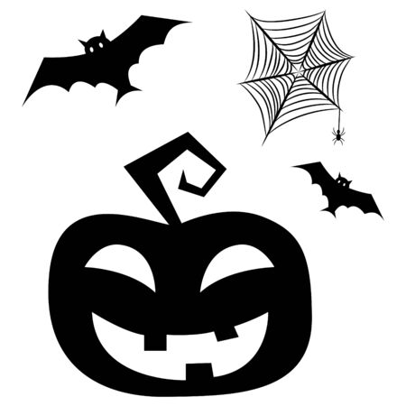 Halloween clipart elements with bats, pumpkin and spider net. Vector cut out silhouette for print and decoration posters. Ilustração