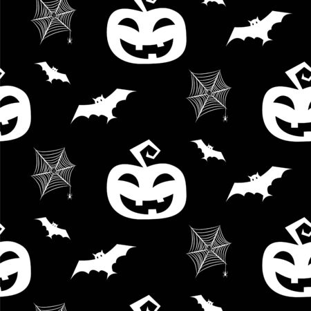 Halloween seamless pattern with bats, pumpkin and spider net. Vector cut out silhouette for print and decoration posters. Ilustração