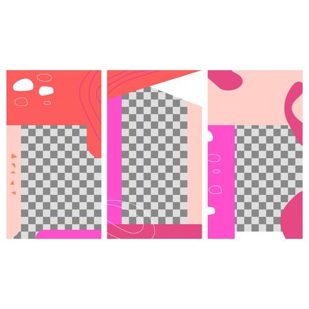 Set of minimalistic geometric stories template for social media posts. Vector banner designs.