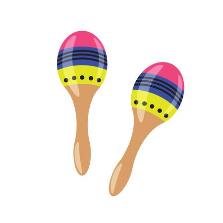 Pair of maraca cartoon vector illustration. Rumba shaker mexican music instrument.