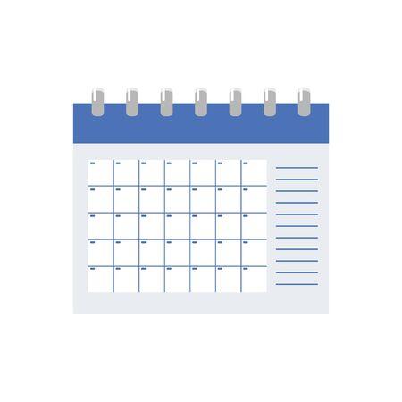 Vector calendar icon symbol. Spiral desk planner or organizer illustration.