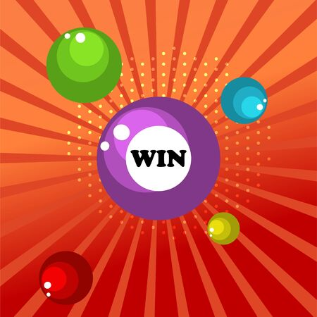Retro sign with lotto balls win banner. Vector illustration design for gambling sites and banners. Red backdrop.