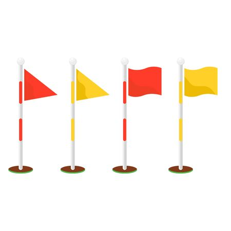 Golf flagsticks set vector cartoon icon symbols. Golf game red and yellow flagstick and hole.