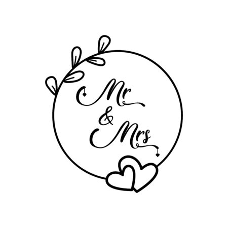 Mr. and Mrs. lettering words traditional wedding symbols for invitations cards. Vector silhouettes signs with circle wreath and hearts.