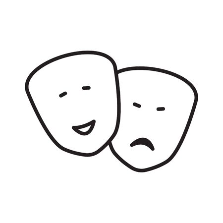 Theater blackoutline emotion masks icon vector. Happy and sad feelings symbols. Comedy and drama signs. Vektorové ilustrace