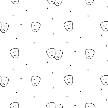 Theater seamless vector pattern with comedy and drama masks icons. Black and white outline style artistic background.