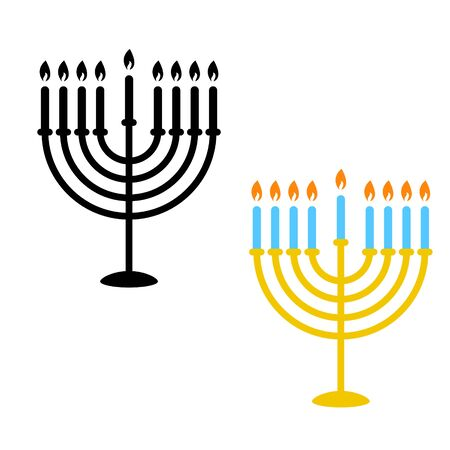 Hanukkah menorah candles icons. Monochrome silhouette and flat colored style objects.