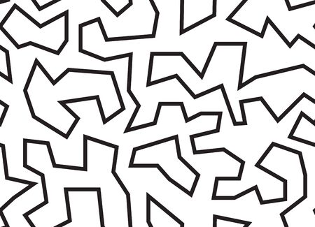 Abstract chaotic lines black and white background seamless pattern vector. Zigzags and angled line repeat monochrome background.