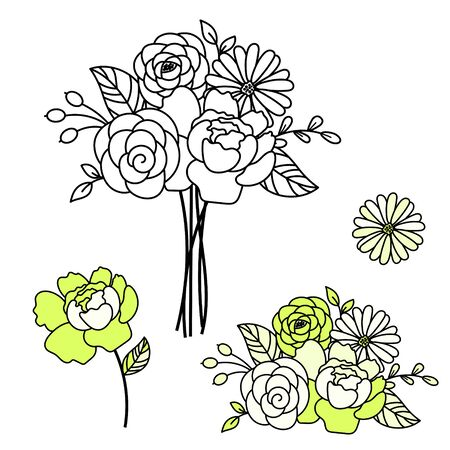Line style floral bouquet peonies vector illustration. Flower bouquet composition. Standard-Bild - 139727631