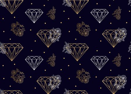 Diamonds and flowers seamless vector pattern. Gold lines on blue background.