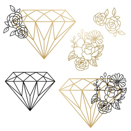 Vector set of diamond design elements and flower compositions. Gold lines cutout shapes.