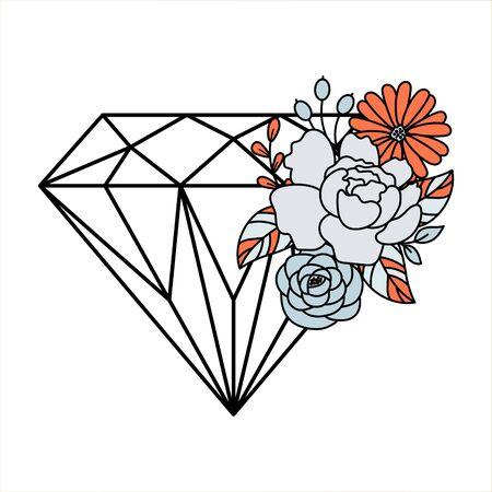 Diamond and flower bouquet decoration design elements outline style vector.