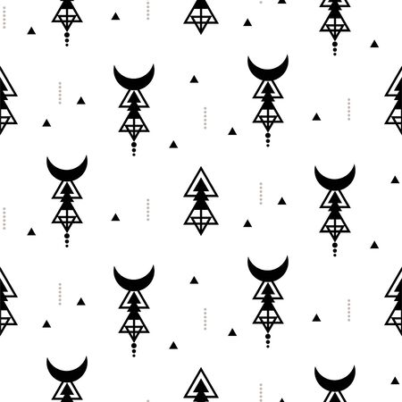 Vector seamless tribal pattern. Simple monochrome background with triangle geometric shapes. Sacred geometry style vector texture. Ilustrace