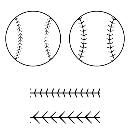 Baseball ball icon silhouette with lacing border pattern vector. Cut file template.