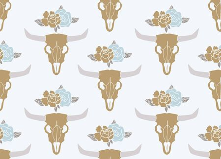 Cow skull with peonies bouquet. Bohemian design vector for stickers and cutout files. Boho skull flowers cartoon flat style.